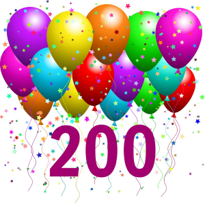 200 with balloons and confetti