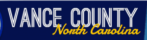 Vance County North Carolina white and yellow lettering dark blue background