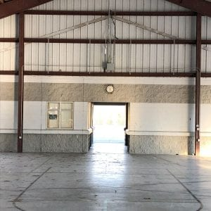 Indoor view of a basketball court without hoop