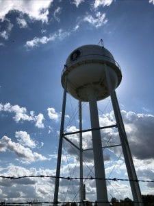 Vance water tower blocking the sun