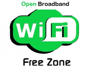 Open Broadband WiFi Free Zone logo green lettering